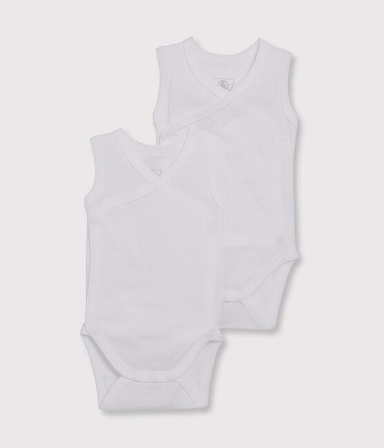 Lot de 2 bodies naissance blancs sans manches bébé en coton biologique lot .
