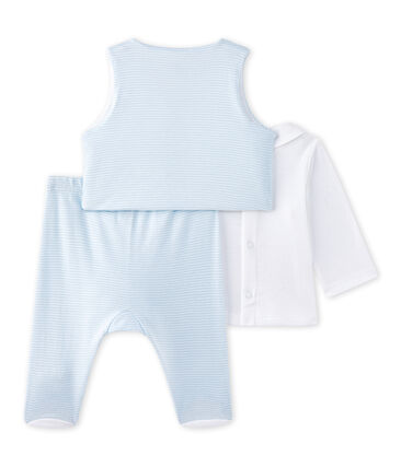 Ensemble bébé garçon 3 pièces bleu Fraicheur / blanc Ecume