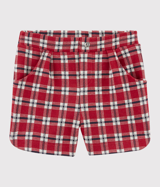 Short en maille enfant fille rouge Terkuit / blanc Multico