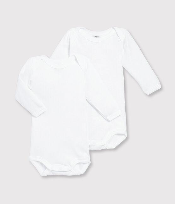 Lot de 2 bodies blancs manches longues bébé garçon blanc Marshmallow