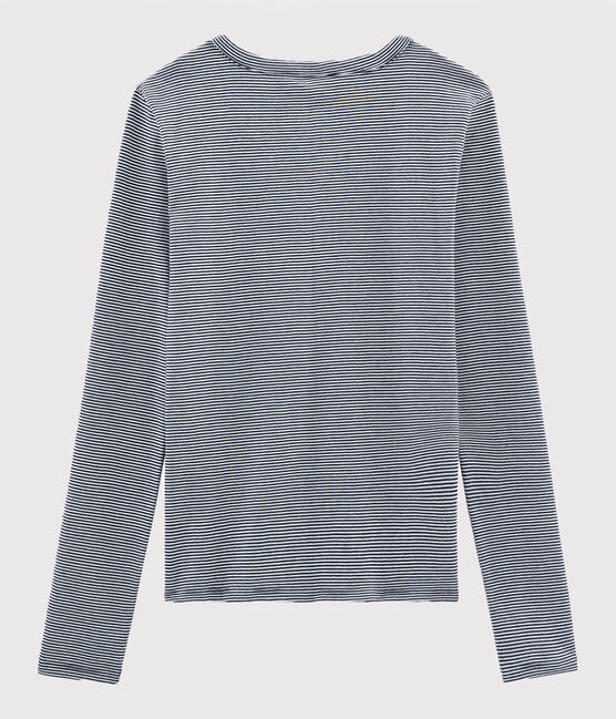 T-shirt laine et coton Femme bleu Smoking / blanc Marshmallow