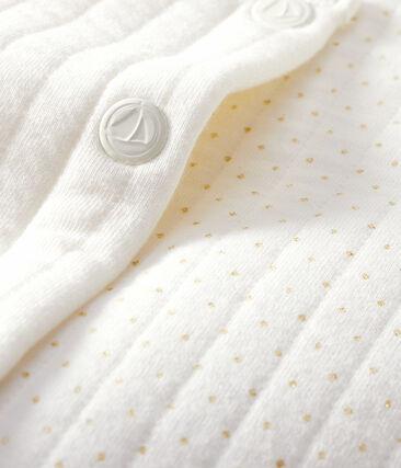 Cardigan bébé fille - garçon en tubique matelassé blanc Marshmallow
