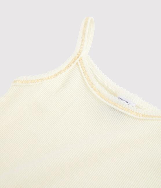 Chemise à bretelles laine et coton petite fille blanc Marshmallow