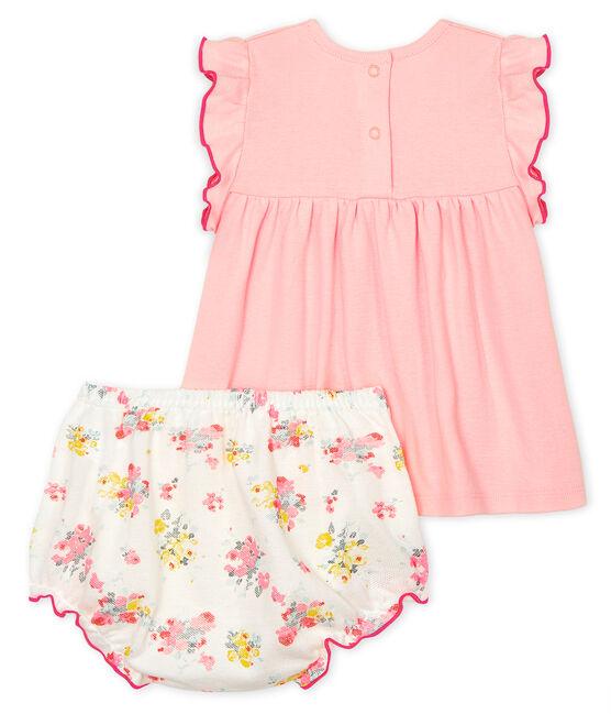 Ensemble deux pièces bébé fille rose Minois / blanc Multico