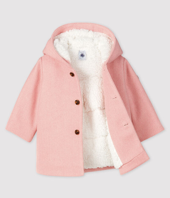Manteau bébé fille en drap de laine rose Cheek / blanc Marshmallow