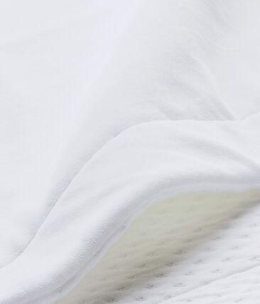 Couverture bébé mixte bi-matière blanc Ecume