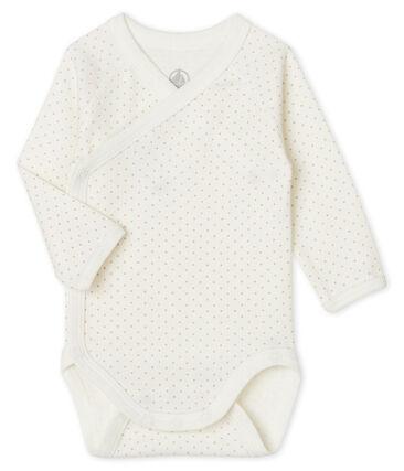 Body naissance manches longues bébé blanc Marshmallow / rose Charme