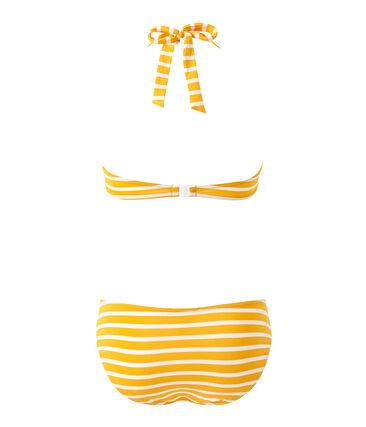 Maillot de bain 2 pièces femme rayé orange Fusion / blanc Marshmallow
