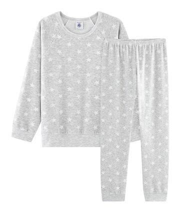Pyjama petite fille en velours gris Beluga / blanc Marshmallow