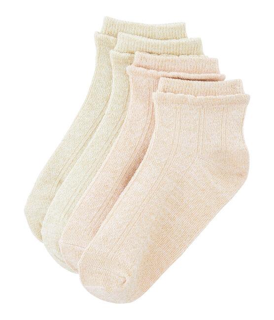 Lot de 2 paires de chaussettes enfant fille blanc Marshmallow / rose Minois