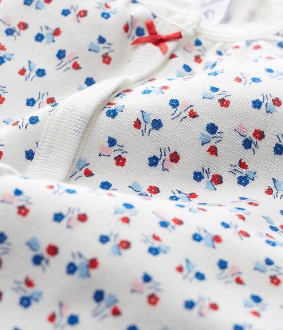 Combicourt bébé fille en côte blanc Marshmallow / blanc Multico Cn