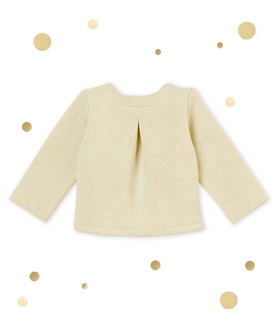 Cardigan bébé fille en molleton brillant blanc Marshmallow / jaune Dore