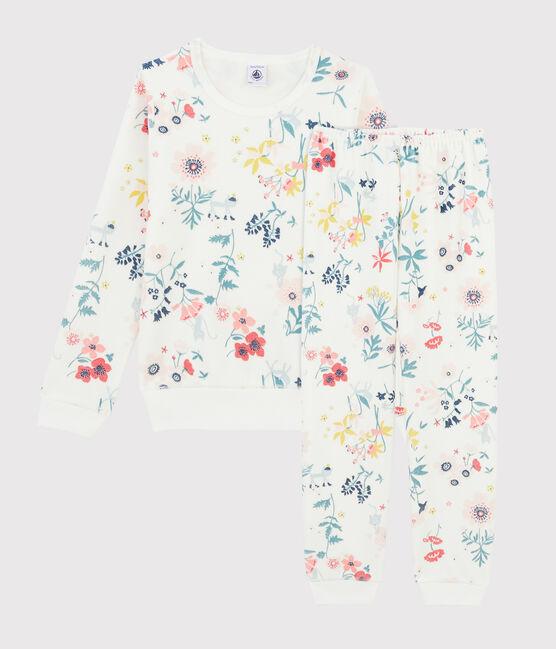 Pyjama à fleurs petite fille en velours blanc Marshmallow / blanc Multico