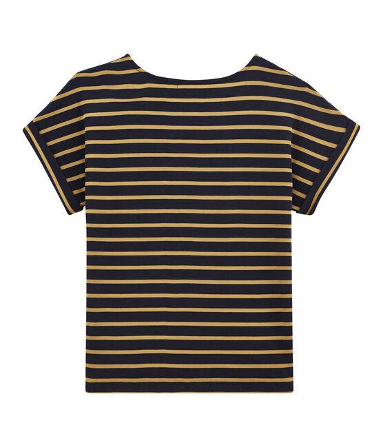 Tee shirt femme satiné manches courtes bleu Smoking / jaune Brindille Satin