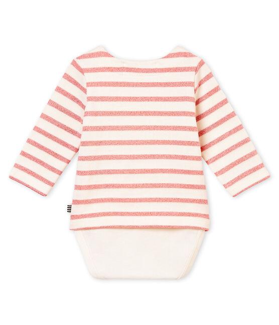 Body marinière brillant bébé fille blanc Marshmallow / rose Joli Brillant