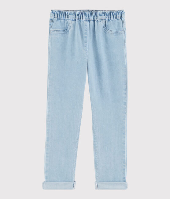 Pantalon slim en molleton denim enfant fille bleu Denim tres clair