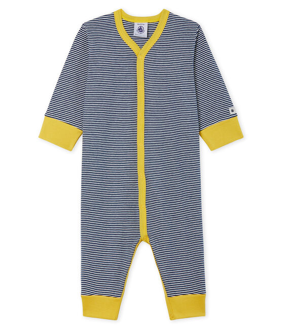 Dors bien sans pieds bébé garçon en côte bleu Medieval / blanc Marshmallow