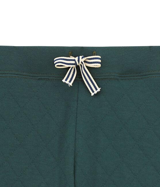 Pantalon garçon en tubique matelassé vert Sherwood