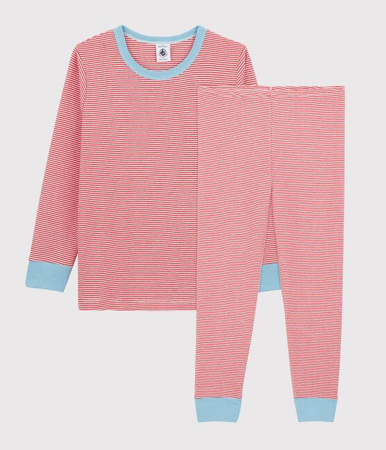 Pyjama rayé petit garçon en coton orange Oursin / blanc Marshmallow