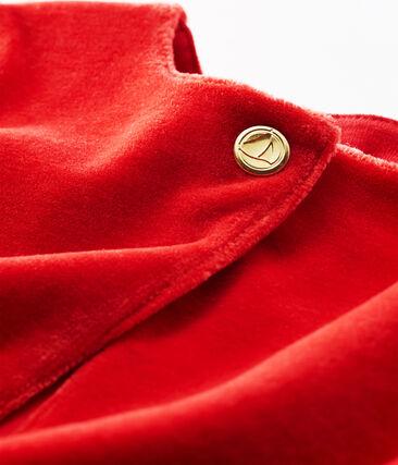 Cardigan bébé fille en maille velours rouge Terkuit