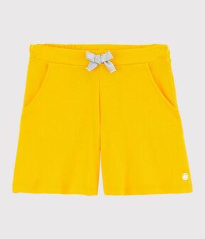 Short en coton enfant fille jaune Shine