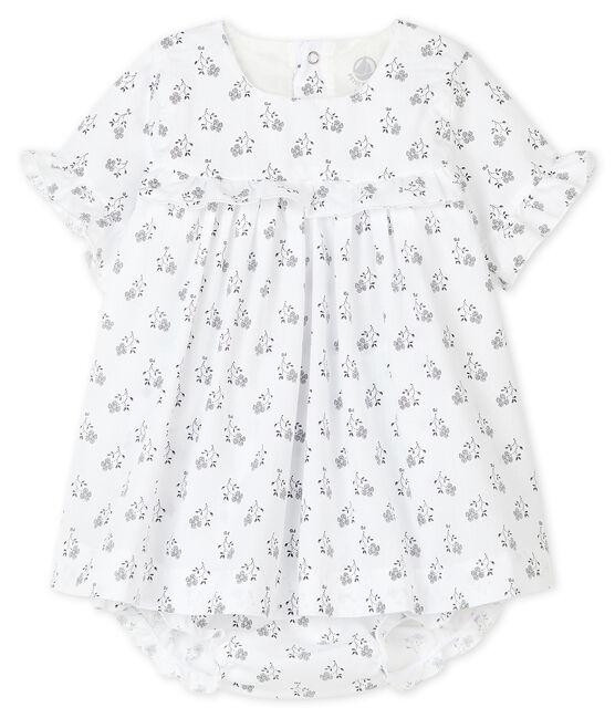 Robe avec bloomer à imprimé fleurs bébé fille en popeline blanc Marshmallow / blanc Multico