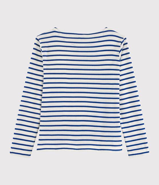 """Marinière légère """"Cœur"""" Femme blanc Marshmallow / bleu Surf"""