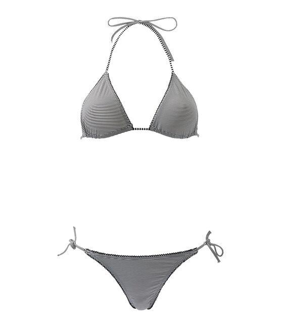 Bikini femme rayé milleraies bleu Abysse / blanc Lait