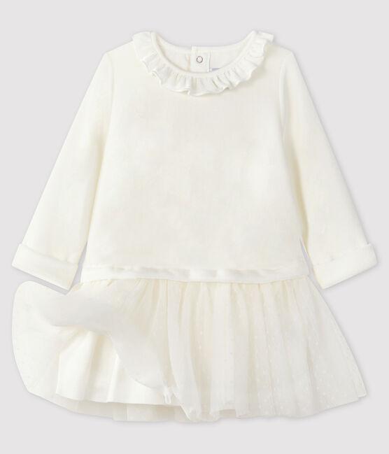 Robe manches longues bébé fille blanc Marshmallow