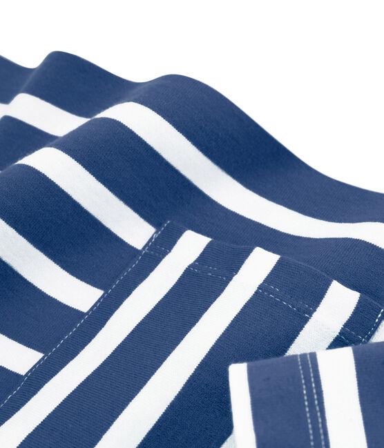 Marinière femme bleu Medieval / blanc Marshmallow