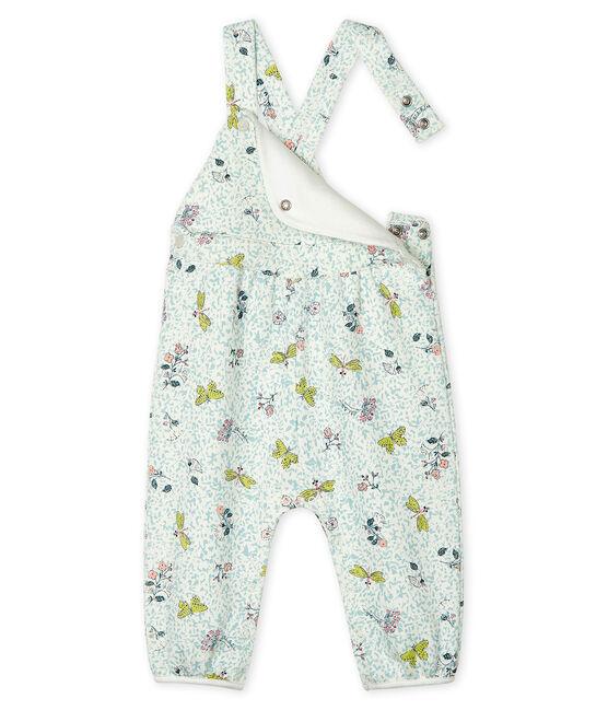 Salopette longue bébé fille en molleton blanc Marshmallow / blanc Multico