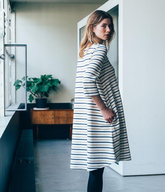 Robe virevoltante femme rayure tricolore blanc Marshmallow / bleu Smoking