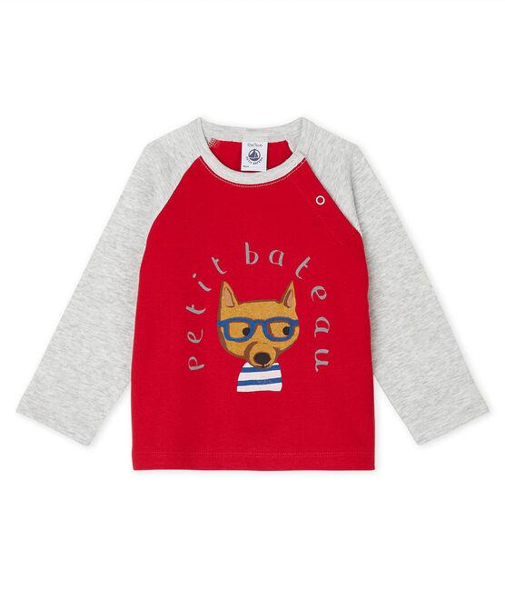 Tee shirt manches longues bébé garçon rouge Terkuit / gris Beluga