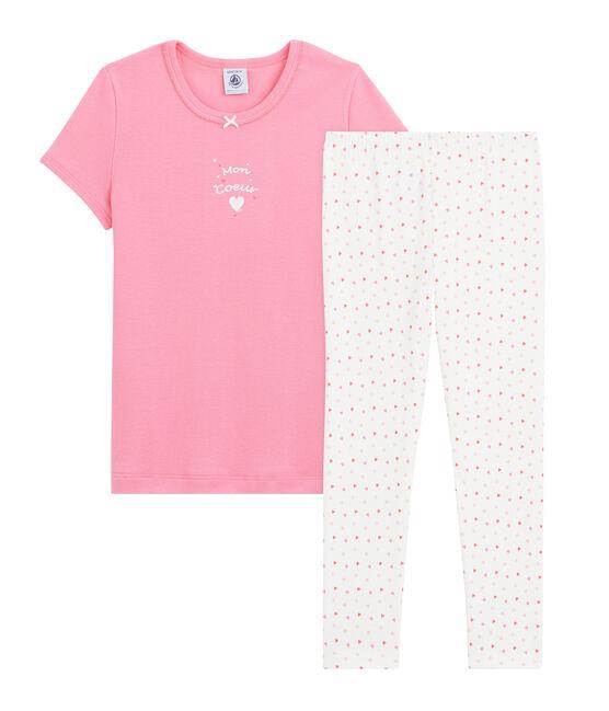 Pyjama cœur petite fille en côte rose Petal/ blanc Multico