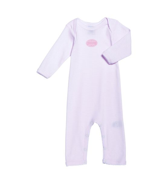 Body long bébé fille à milleraies rose Vienne / blanc Ecume