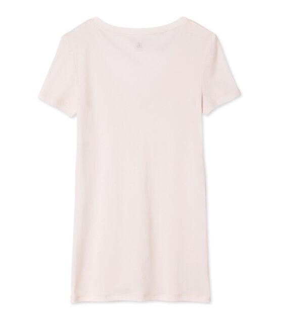 Tee shirt manches courtes col v femme rose Fleur