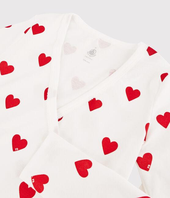 Cardigan cache-cœur en coton Femme blanc Marshmallow / rouge Terkuit