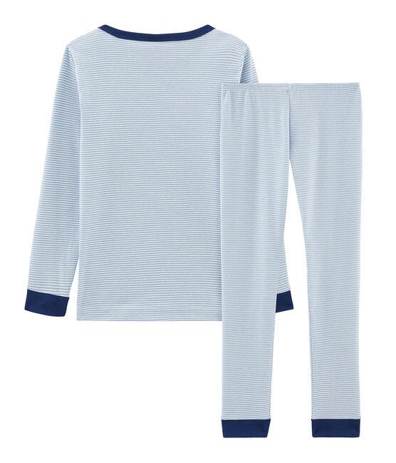Pyjama petit garçon coupe très ajustée en côte bleu Acier / blanc Marshmallow