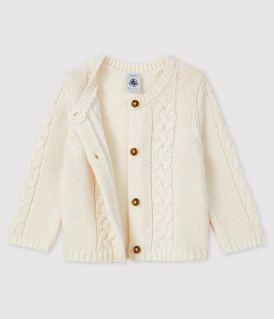 Cardigan bébé laine et coton blanc Marshmallow