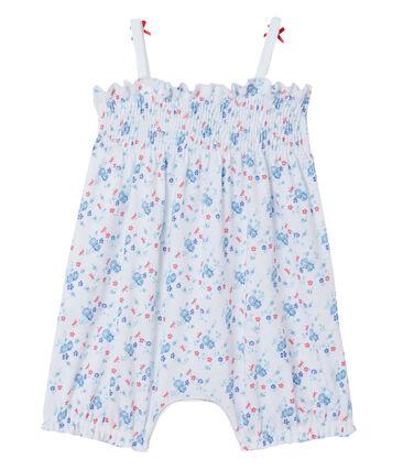 Combicourt bébé fille imprimé blanc Ecume / bleu Bleu
