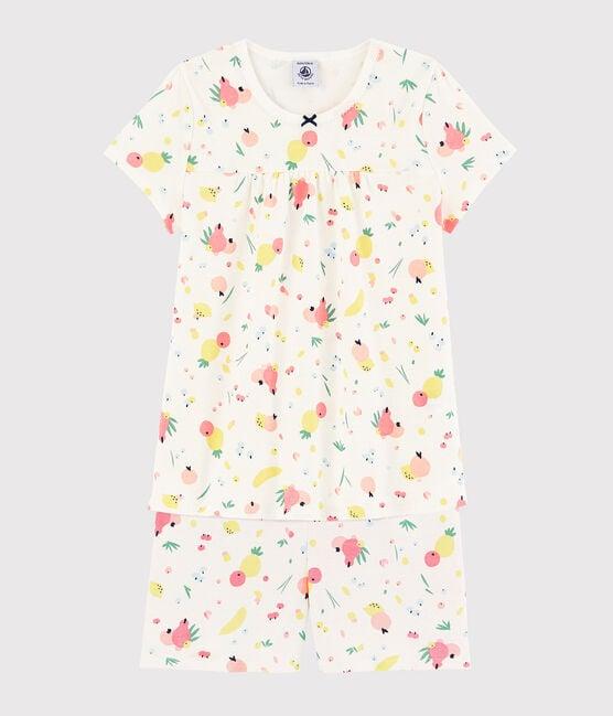 Pyjacourt imprimé fruits d'été petite fille en coton biologique blanc Marshmallow / blanc Multico