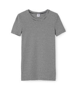 Tee shirt manches courtes iconique femme bleu Smoking / blanc Marshmallow