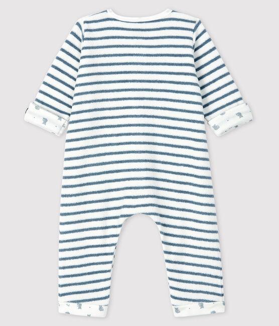 Combinaison longue rayée bébé en bouclette éponge blanc Marshmallow / bleu Astro