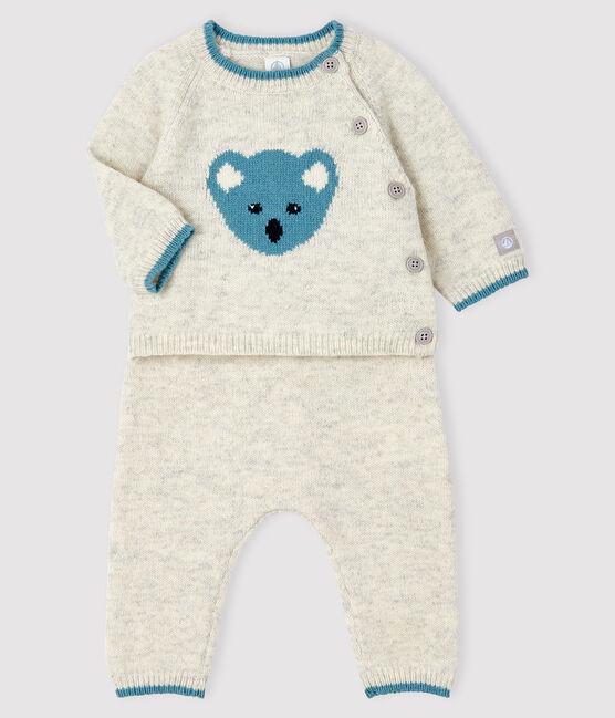 Ensemble 2 pièces jacquard bébé en tricot gris Beluga