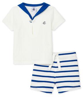 Ensemble deux pièces bébé garçon blanc Marshmallow / bleu Surf