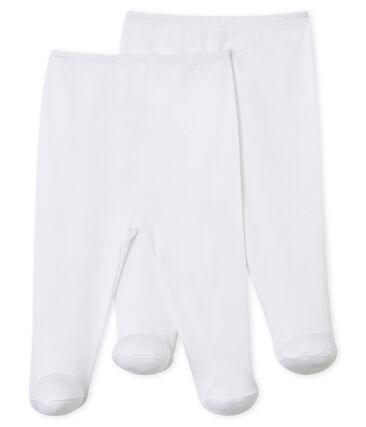 Lot de 2 pantalons à pieds bébé blanc Ecume