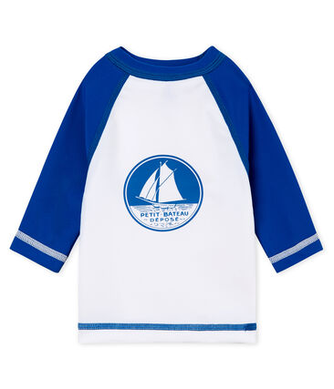 Tee-shirt manches longues protection solaire bébé mixte blanc Marshmallow / bleu Riyadh