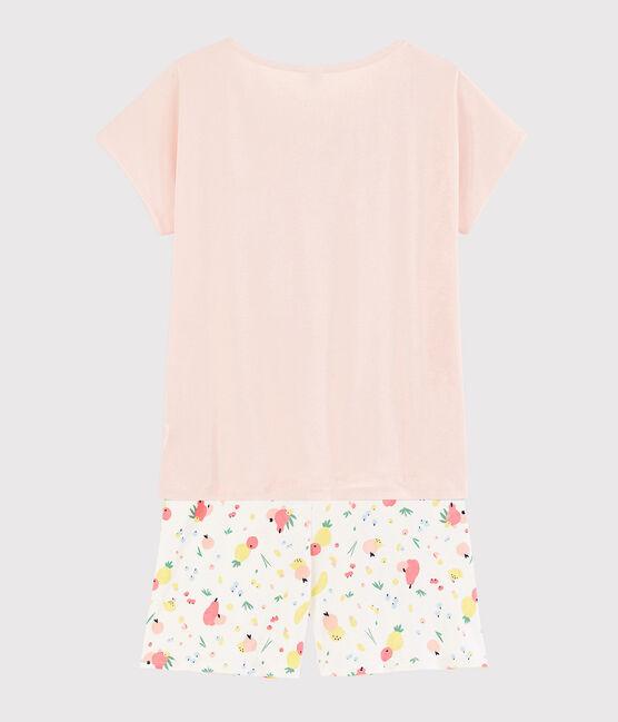 Pyjacourt imprimé fruits d'été fille - femme en coton biologique rose Fleur / blanc Multico