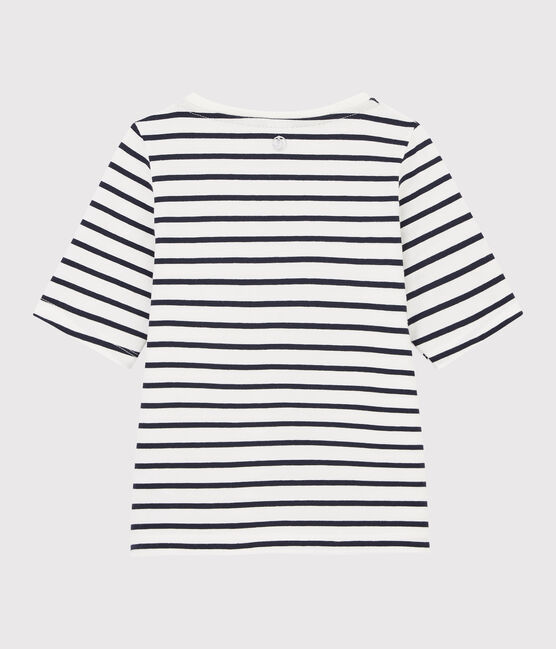 Tee-shirt rayé enfant fille blanc Marshmallow / bleu Smoking