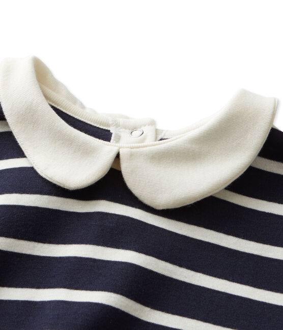 T-shirt fille manches longues rayé bleu Smoking / beige Coquille